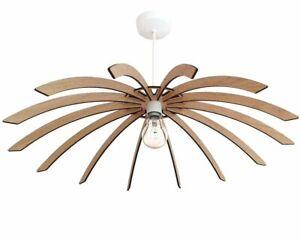 Large Modern Scandinavian Wooden Lamp Shade, Various Styles, Oak or Walnut Wood