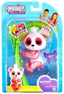 🔥FINGERLINGS Baby Panda POLLY Glitter Fingerling PINK WowWee 40+ Sound! NEW