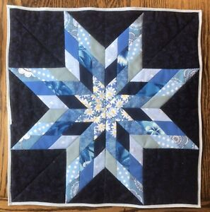 """Hand Made Quilted Table Topper/Runner ~ Doll Bed Quilt 17""""x17"""" Square Lone Star"""