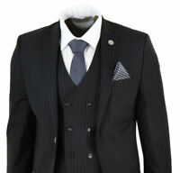 Mens 3 Piece Suit Gatsby 1920s Peaky Blinders Gangster Pinstripe Tailored Fit+