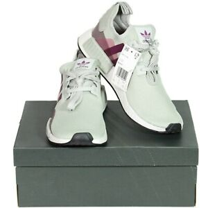 Adidas Womens Boost Running Shoes Sz 10.5 Ash Silver Purple Beauty NMD R1 EE5177