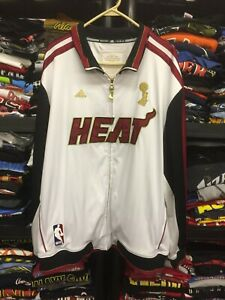 NBA MIAMI HEAT ADIDAS White Championship 2012 JACKET LONG SLEEVE size 2XL #4016