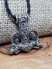Ram Goat Rune Pendant Thors Hammer Viking Necklace