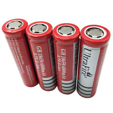 4X 18650 Batteries 6800mAh 3.7V Rechargeable Li-ion Flat Top Battery Flashlight
