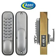 Asec AS2300 Mechanical Push Button Digital Door Lock Keyless Satin Chrome