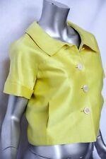 OSCAR DE LA RENTA Yellow Runway Short Sleeve Button-Down Cropped Bolero Jacket 4