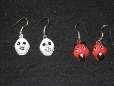 of Dead / Halloween Mexican Folk Art Two Pairs Skull & Devil Earrings Day