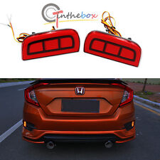 JDM Style Red LED Bumper Reflector Rear Marker Lights For 16-up Honda Civic 4DR