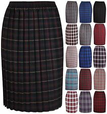 ccf21d8e70 Womens Tartan Check Print Ladies Pleated Elasticated Waist Long Skirt Plus  Size