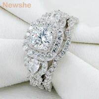 Newshe Halo Round Pear Cut Cz 925 Sterling Silver Engagement Wedding Ring Set
