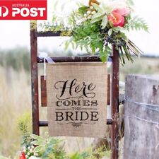 Here Comes The Bride Sign Decoration Burlap Rustic Wedding Flower Girl
