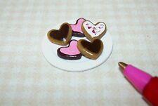 Miniature Adinolfi Plate of Heart Valentine Cookies #2: DOLLHOUSE 1:12 Scale