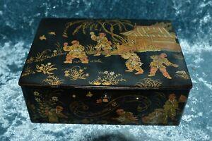 Japanese Antique Papier Mache Black Lacquer Painted Box - Meiji Period