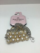 JUICY COUTURE MULTI STRAND GOLD & SILVER TONE CHAIN LINK STRETCH BRACELET- NEW