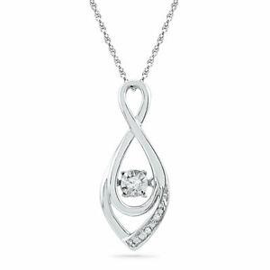 10k White Gold Round Diamond Moving Twinkle Solitaire Teardrop Pendant 1/20