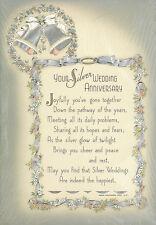 BUZZA MOTTO Vtg c1930s YOUR SILVER WEDDING ANNIVERSARY Art Motto Die-cut w/foil
