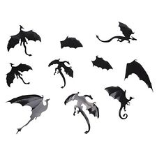 """(#187) 7 piece BLACK DRAGON Stickers 4"""" - 6+"""" Stickon Flat or bend for 3D effect"""