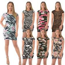 WOMENS LADIES CAP SHORT SLEEVE PRINTED BODYCON STRETCH MINI DRESS TOPS 8-22