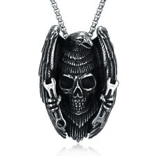 Mens Stainless Steel Skull Head Pendant Smooth Box Link Chain Necklace #NE148