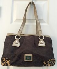 Liz Claiborne Signature Brown Handbag w/ Gold Straps and Leopard Trim Purse