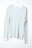Levis Mens Ribbed Long Sleeve Striped Tshirt - White Blue Size L Large (L-LL7)