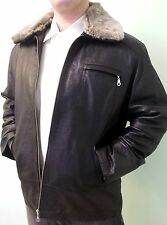 MEN'S GENUINE LAMB LEATHER COAT JACKET SHEARLING REMOVABLE COLLAR, SIZE S, BLACK