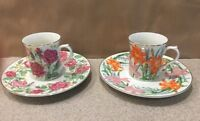 Suzanne Clee Lenox  Rose And Day Lily 2 Cups 2 Dessert Plates Flower Blossom Euc