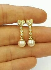 18k yellow gold genuine diamond and dangling freshwater pearl earrings