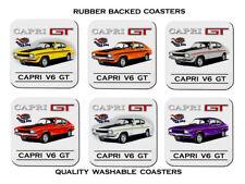 FORD  CAPRI  MK1  V6  GT    SET OF  6  QUALITY RUBBER DRINK  COASTERS