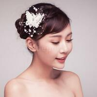 Handmade Bridal Lace Butterfly Hair Clip w/ Beaded Pearls Wedding Prom Tiara