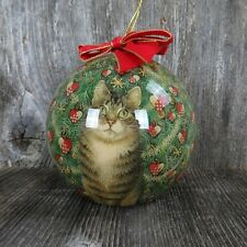 Vintage Paper Mache Ball Christmas Ornament Cat Kitten Tree Enesco Decoupage