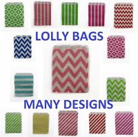 10 PAPER LOLLY BAGS BAG WEDDING BIRTHDAY FAVOUR FAVOURS GIFT CHEVRON DOTS LINES