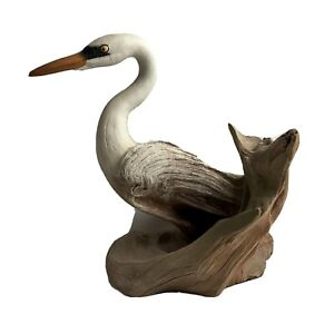 "Rick Cain Egret Bird Wood Sculpture ""Marsh Keeper"" 1985 Limited Edition 427/5000"