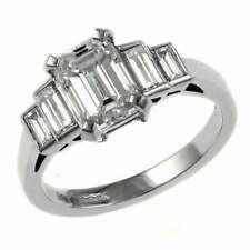 1.50cts Off White Emerald Cut Moissanite Ring 14kt White Gold Best Wedding Ring