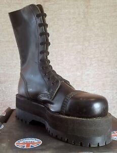 Underground Shoes Boots 10 Eyelet Mens Sz UK 8 Black Leather England Steel Toe
