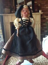 Lovely Vintage Unbranded Bisque And Cloth 17� Doll Dressed In Dutch(?) Outfit