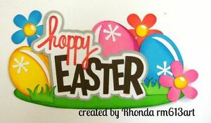 Hoppy Easter boy girl title paper piecing for scrapbook pages by Rhonda rm613art