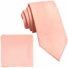 "New Polyester Men's 2.5"" skinny Neck Tie & hankie set solid mauve dusty pink"