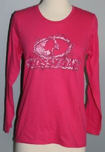 New Ladies MOSSY OAK Long Sleeve Shirt Pink Camo Logo Hunting Womens Sizes S & M
