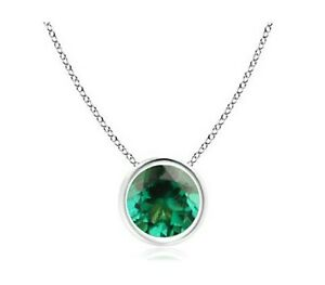 14KT Gold & 1.20Ct Round Cut AA Natural Zambian Green Emerald Solitaire Pendant