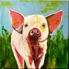 Original acrylic painting on stretched canvas 12*12 - Baby Pig . Animal