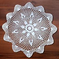 "4Pcs Handmade White Crochet Lace Doilies Cotton Round Table Cloth Mats 13-15"""