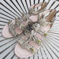 COACH 7 B Cream Brown Leather OLETA Snake Gladiator Turnlock Sandals NWOB $178.0