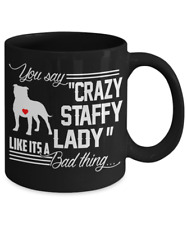 Crazy Staffordshire Bull Terrier, Staffy Lady Mug, Staffie Coffee Mug, StaffyCup