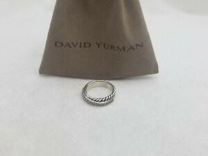 David Yurman 5mm Crossover Band Ring with Diamond Size 8