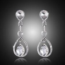 Wedding Prom Silver Rhinestone Crystal Teardrop Diamante Bride Dangle Earrings