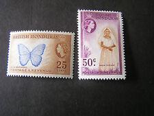 BRITISH HONDURAS, SCOTT # 151/152(2), 1953-57 QE2 DEFINITIVE PICTORIAL MVLH