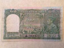 - 1938 Burma – Reserve Bank of India Ten 10 Rupees George VI P  # 5
