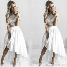 Short Two Pieces High Low Beach Wedding Dress Bridal Gown Custom Made 2 4 6 8 ++