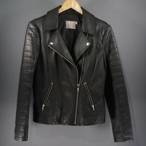 ASOS Black Leather Jacket Size UK 10